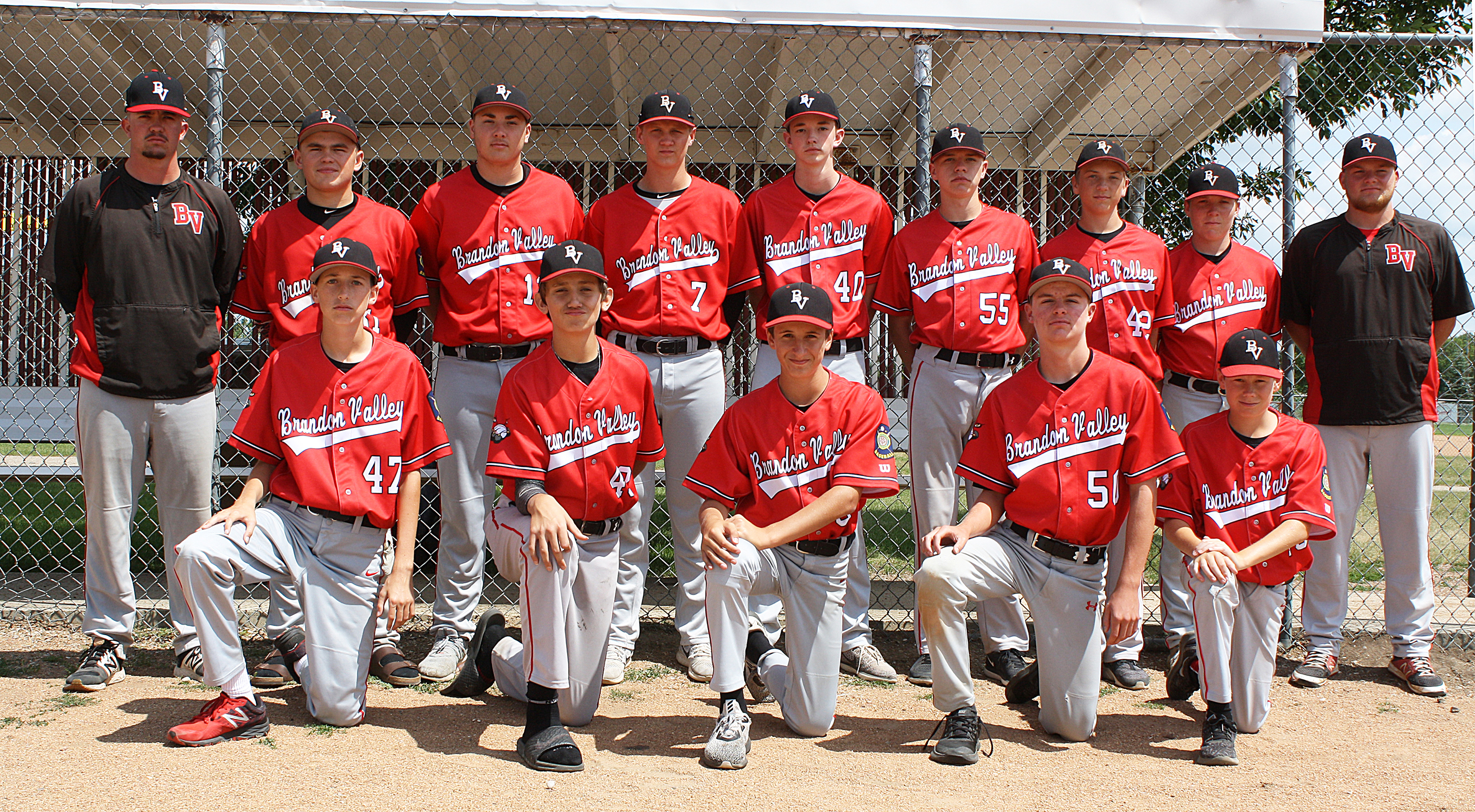 Brandon Valley 16U made a comeback in the state 16U baseball tournament. Coaches Ethan Horner and Mitch Hoover led the team to their fourth-place finish July 26-29 in Watertown. Members of the team are, from left, row one: Caden Zerr, Landen Niehoff, Sam Oltoff, Dawson Skorczewski and Cole Bunker; row two: Coach Mitch Hoover, Tyler Schelske, Tanner Nifong, Grant Peterson, Thomas Crosby, Maxwell Kane, Luke Kocer, Jack Krohnke and Coach Ethan Horner. <strong>Submitted photo.</strong>*/