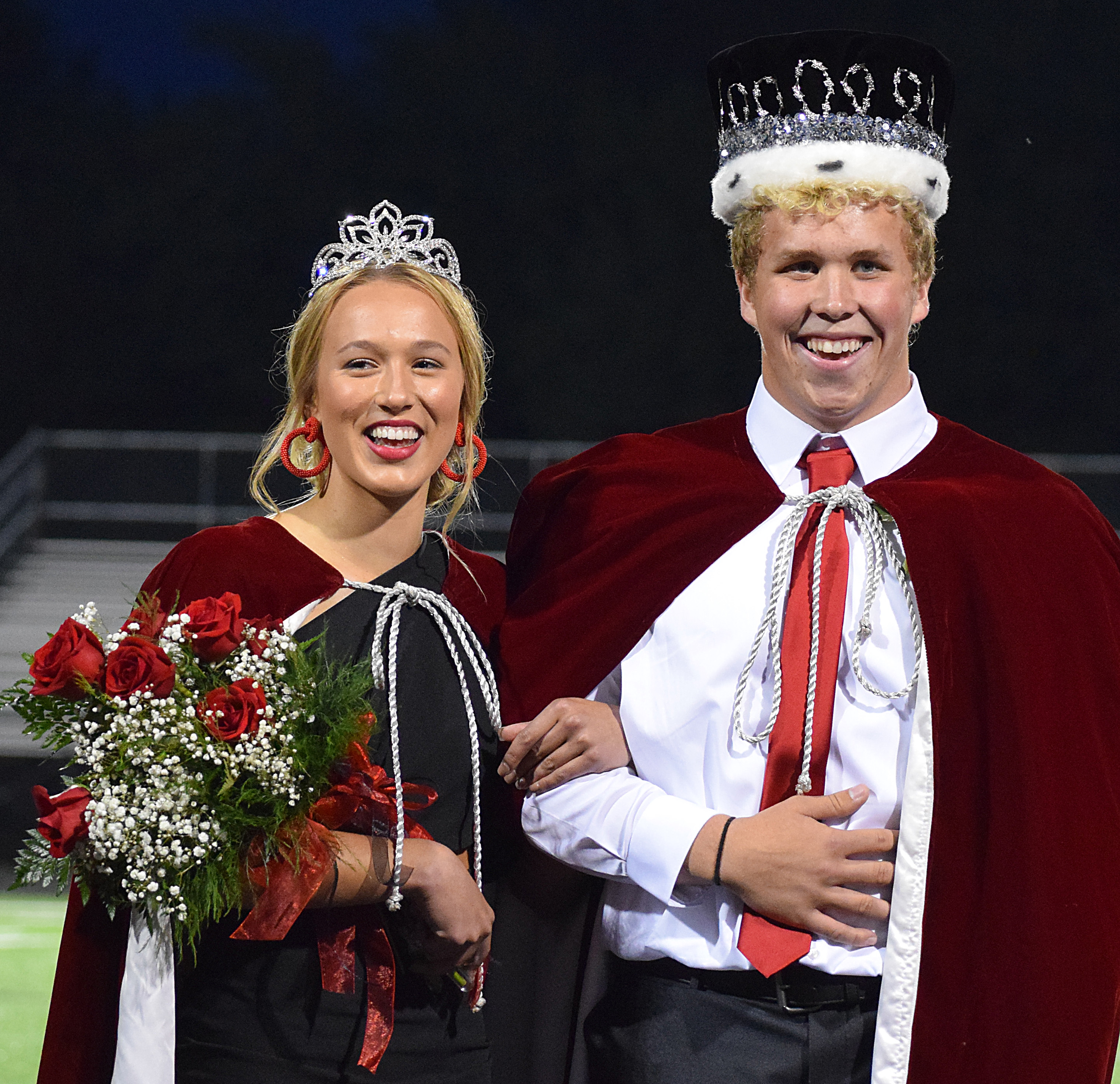 Jill MeierBV Journal 	Brielle Dixon and Wesley DeWitt were crowned as BVHS's 2020 Homecoming Queen and King Monday night. (Above) 2019 queen Grace Wilford assists Queen Brielle with her new attire. For more photos from the night, visit the photo gallery at BrandonValleyJournal.com.