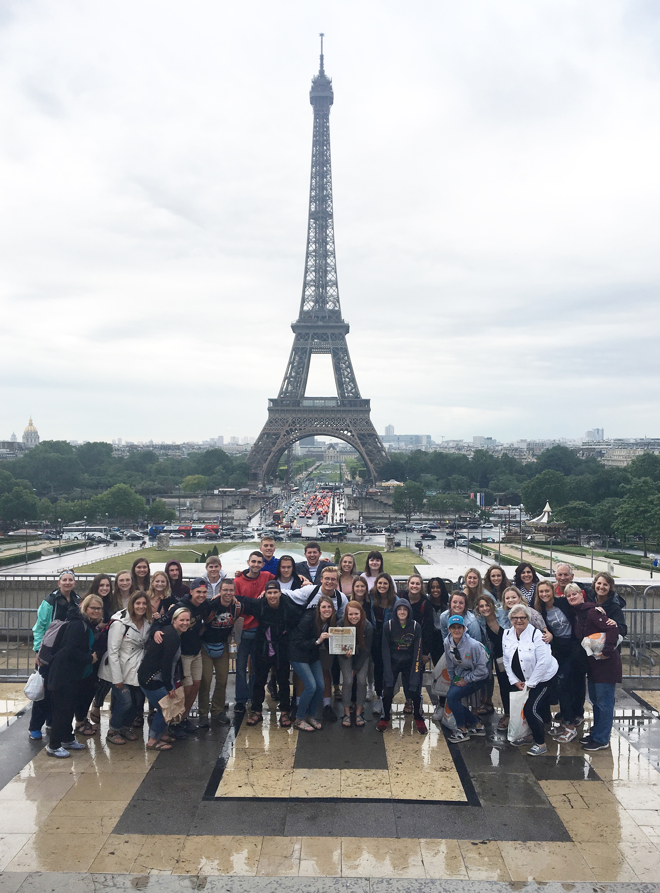 """<span class=""""s1"""">It was a European vacation for this group of Brandon Valley High School students and their chaperones. The BVHS group traveled abroad last month, taking in a variety of all the major tourist points of interest, including the Eiffel Tower on a rainy day. If you're venturing out this summer - whether it's abroad or to somewhere in South Dakota – remember to take the <i>Brandon Valley Journal</i> along for the ride! Like the BVHS travel group, snap a photo and submit it to us for print in an upcoming issue of the <i>BV Journal. </i><strong>Submitted photo.</strong></span>*/"""