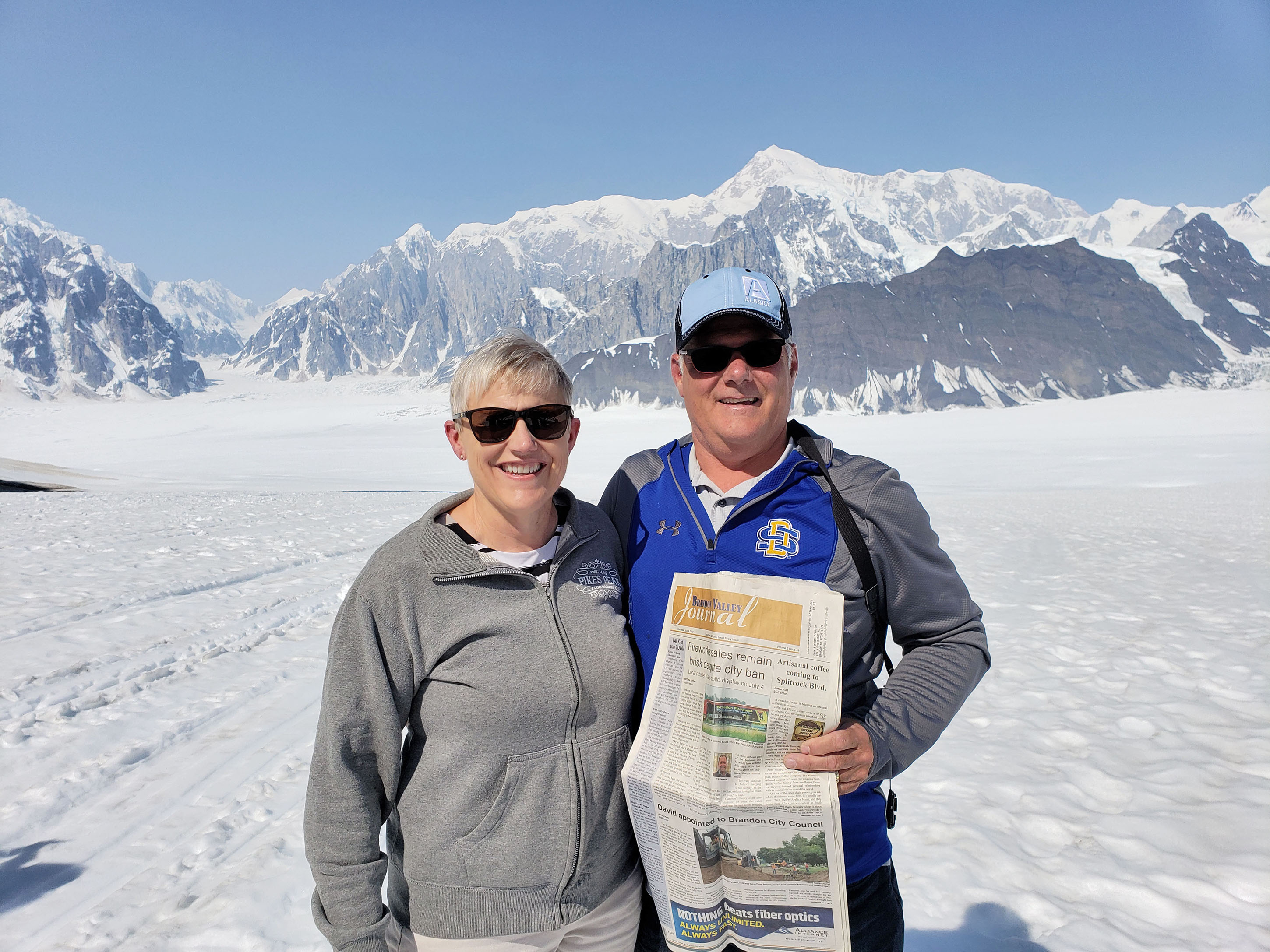 "<span class=""s1"">A Brandon husband and wife, Dean and Nancy Pierson, recently returned from a ""tremendous trip to Alaska"" and they brought the <i>Brandon Valley Journal</i> with them. They're pictured at Denali Park, which is filled with animals and awesome views, including the glacier, Denali. ""A little fact,"" the Piersons shared, ""is that it used to be called 'Mount McKinley,'"" but is now referred as ""Denali."" If you're venturing out, take the <i>Brandon Valley Journal</i> along for the ride, snap a photo and submit it to us for publication in a future issue of your local newspaper.<span class=""Apple-converted-space""> <strong>Submitted photo</strong></span></span>*/"