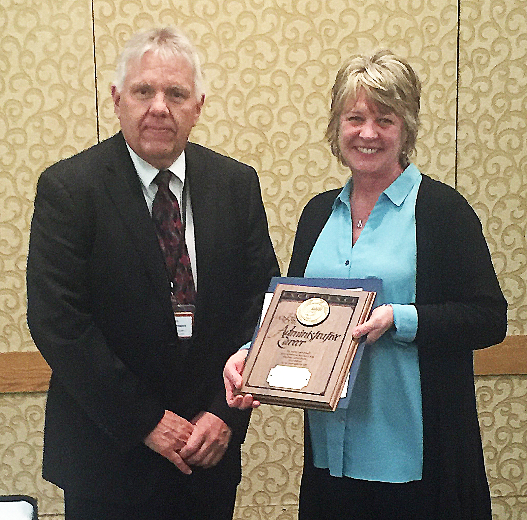 */Marge Stoterau, curriculum director for the Brandon Valley School District, is the 2018 recipient of the Outstanding Curriculum Director Award. Stoterau was presented the honor by South Dakota Secretay of Education Don Kirkegaard Jan. 31 at the Outstanding Administrators Award Banquet in Pierre, which is sponsored by the South Dakota Board of Regents. <strong>Submitted photo.</strong>